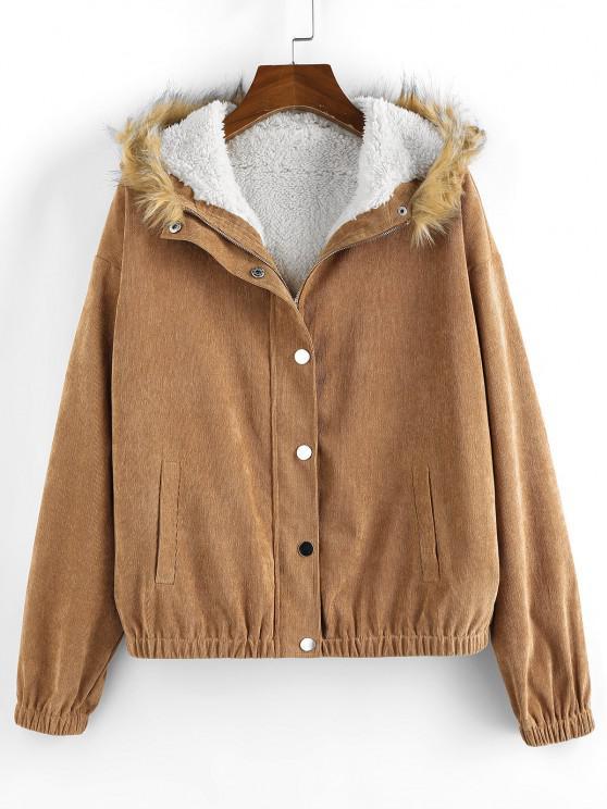shop ZAFUL Corduroy Drop Shoulder Faux Shearling Lined Parka Coat - COFFEE S