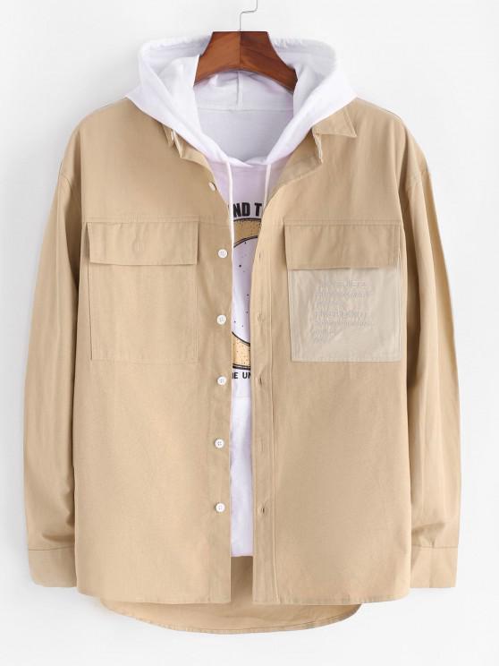 latest Letter Embroidery Colorblock Pocket Shirt Jacket - LIGHT KHAKI 2XL