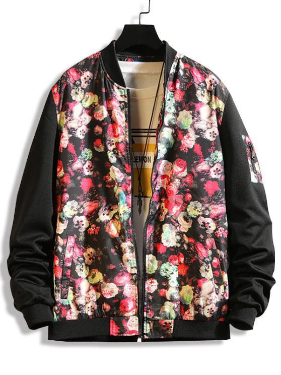 online Flower Print Panel Zip Up Jacket - BLACK L