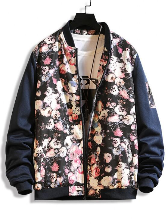 online Flower Print Panel Zip Up Jacket - BLUE M
