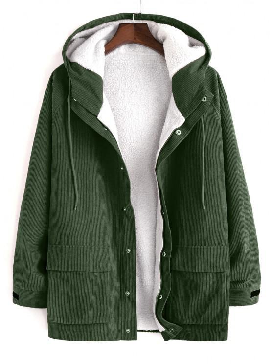 ladies Faux Fur Raglan Sleeve Hooded Corduroy Jacket - ARMY GREEN 2XL