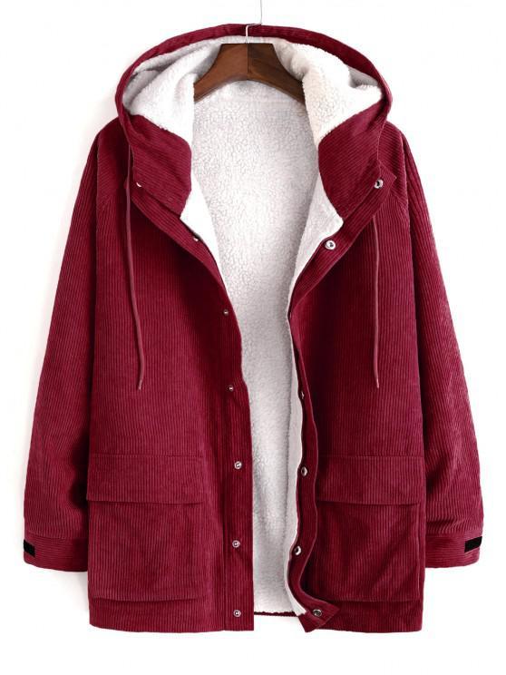 affordable Faux Fur Raglan Sleeve Hooded Corduroy Jacket - RED WINE 2XL