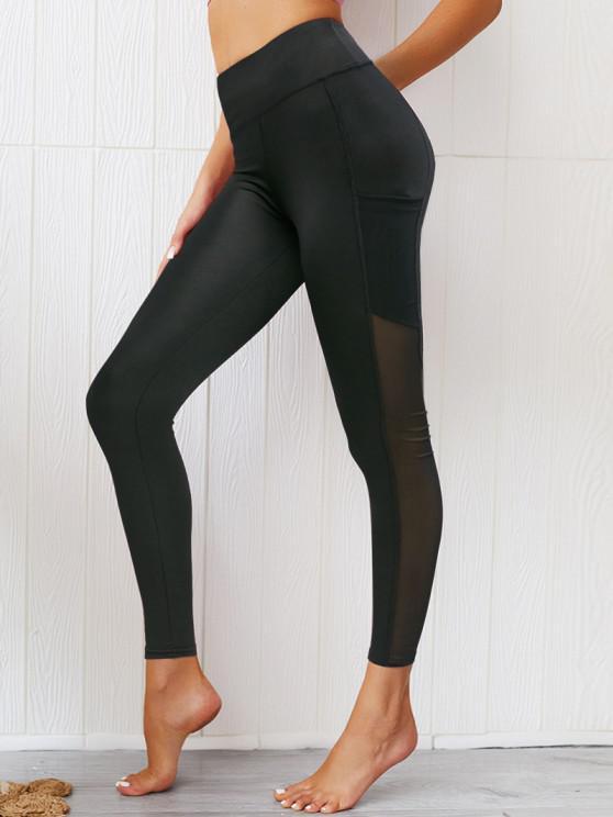 trendy Mesh Panel Pockets High Waist Leggings - BLACK S