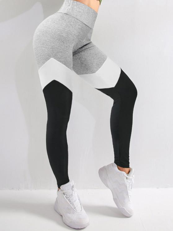 women Colorblock High Waist Sports Leggings - MULTI-A M