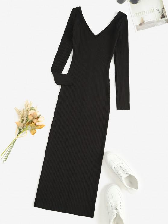 ladies Long Sleeve Ribbed Double V Slinky Dress - BLACK M