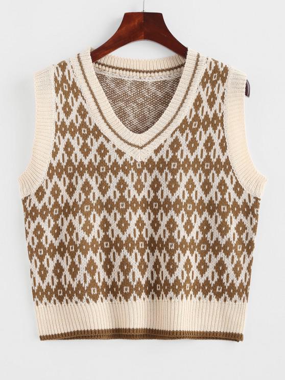 affordable V Neck Geo Sweater Vest - DARK GOLDENROD ONE SIZE