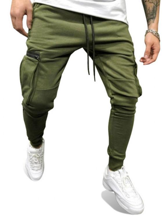Pantalones Deportivos Bolsillos Cremallera - Verde S
