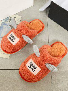 Cartoon Unicorns Shape Fluffy Slippers - Orange Eu 40