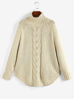 Mock Neck Raglan Sleeve Sweater - Light Coffee L