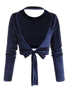 Self-tie Open Back Velvet Crop Top - Deep Blue L