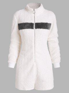 Pull-ring Zip Fluffy Colorblock Lounge Romper - White L