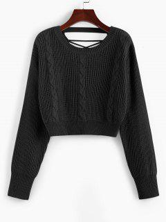 ZAFUL Criss Cross Cable Knit Crop Sweater - Black M