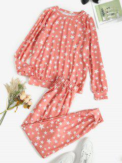Lounge Star Pocket Pants Set - Light Pink M