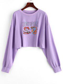 Snake Print Cropped Graphic Sweatshirt - Light Purple S