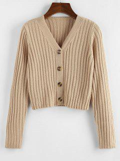 ZAFUL Ribbed Button Up Crop Cardigan - Light Coffee S