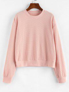ZAFUL Drop Shoulder Ribbed Sweatshirt - Light Pink M
