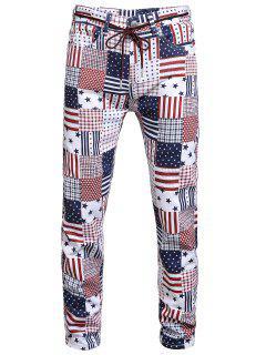 Amerikanische Flagge Allover Muster Denim Jeans - Multi-a 32