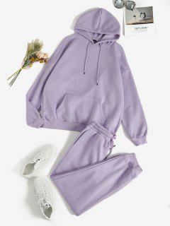 Front Pocket Fleece Lined Two Piece Sweat Suit - Light Purple L