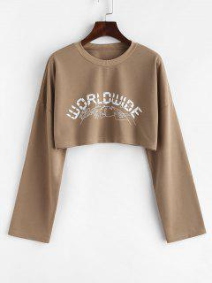 Letter Graphic Print Cropped Sweatshirt - Coffee L