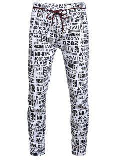 Buchstabe Allover Muster Reißverschluss Jeans - Multi-a 36
