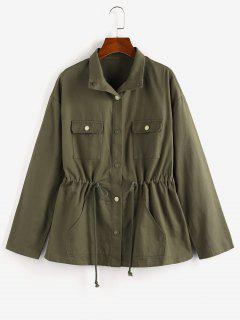 ZAFUL Drop Shoulder Drawstring Waist Pockets Jacket - Army Green S