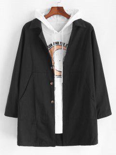 Solid Pocket Patch Long Jacket - Black Xl