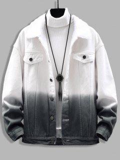 Ombre Print Fluffy Jean Jacket - Black 3xl