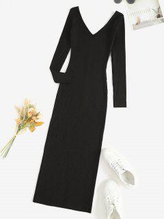 Vestido Grueso Manga Larga Cuello En V - Negro M