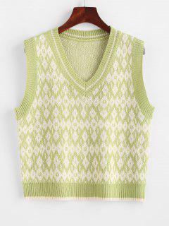 V Neck Geo Sweater Vest - Pistachio Green