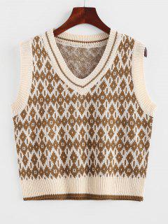 V Neck Geo Sweater Vest - Dark Goldenrod