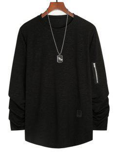 Camiseta Con Aplicación De Bolsillo Embellecido Con Cremallera - Negro 2xl