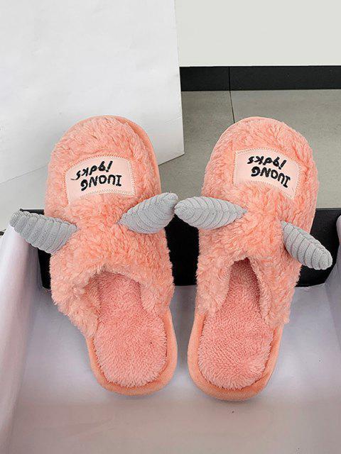 shop Cartoon Unicorns Shape Fluffy Slippers - LIGHT PINK EU 39 Mobile
