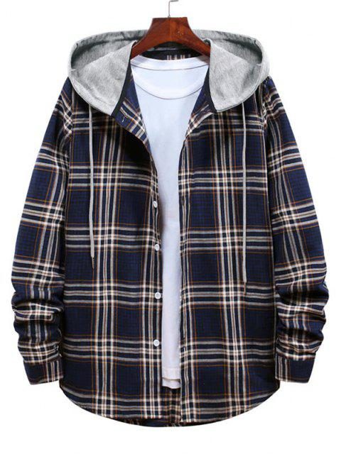 Striped and Plaid Pattern Long Sleeve Hooded Shirt - ازرق غامق 2XL Mobile