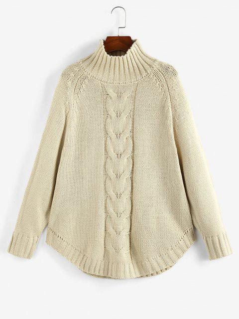 buy Mock Neck Raglan Sleeve Sweater - LIGHT COFFEE S Mobile