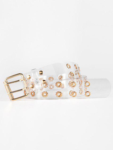 buy Double Grommet Hole Clear Belt - GOLDEN  Mobile