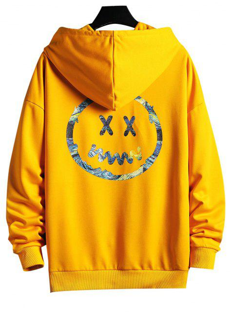 women Painting Face Print Drop Shoulder Hoodie - YELLOW S Mobile