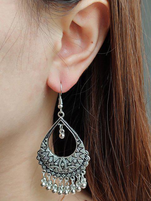 women's Embossed Water Drop Shape Fringed Drop Earrings - SILVER  Mobile