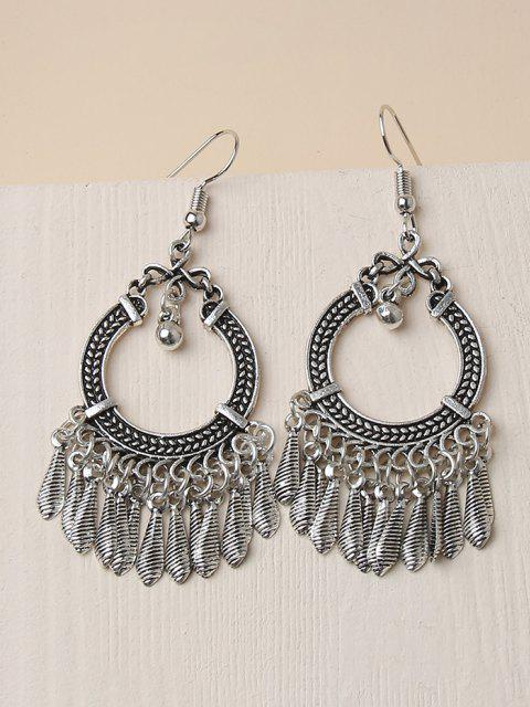 ladies Embossed Circle Fringed Drop Earrings - SILVER  Mobile
