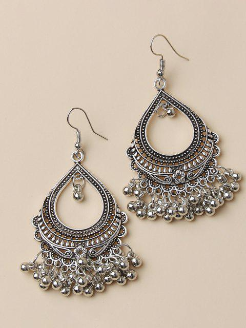lady Hollow Out Water Drop Fringed Drop Earrings - SILVER  Mobile