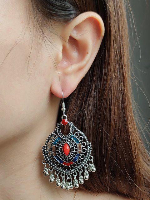 best Faux Gem Ball Fringed Drop Earrings - SILVER  Mobile