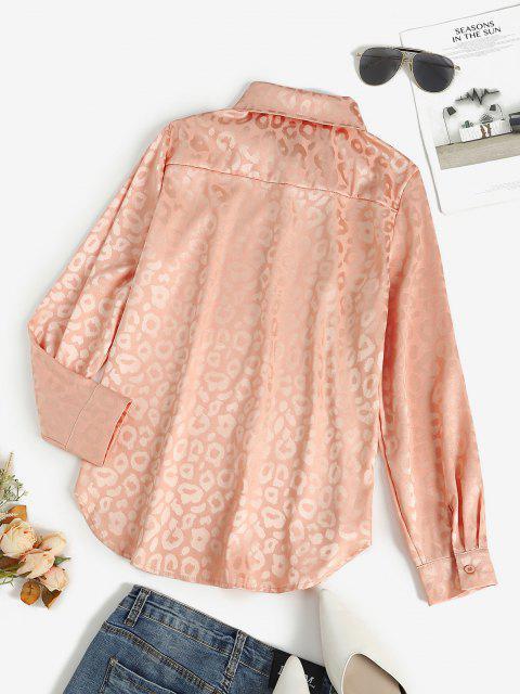 chic Leopard Jacquard Button Up Shirt - LIGHT PINK XL Mobile