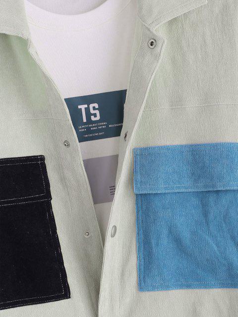 Veste en Blocs de Couleurs avec Bouton Pression en Velours Côtelé - Gris Clair XL Mobile