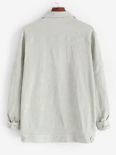 Maglione di Velluto a Coste a Blocchi di Colore con Tasche e Bottoni Automatici - Grigio Chiaro 2XL Mobile