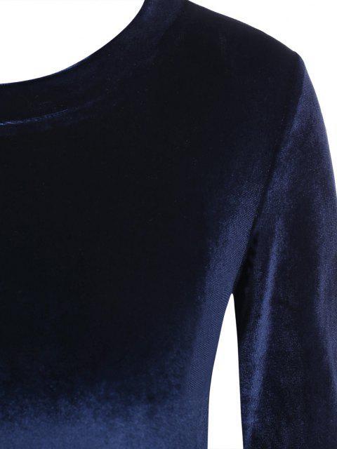 Gebundene Samt Crop Top mit Offenem Rücken - Tiefes Blau S Mobile
