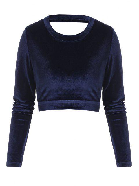womens Self-tie Open Back Velvet Crop Top - DEEP BLUE L Mobile