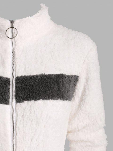 Pull Ring Zip Flauschige Farbblock Lounge Strampler - Weiß S Mobile