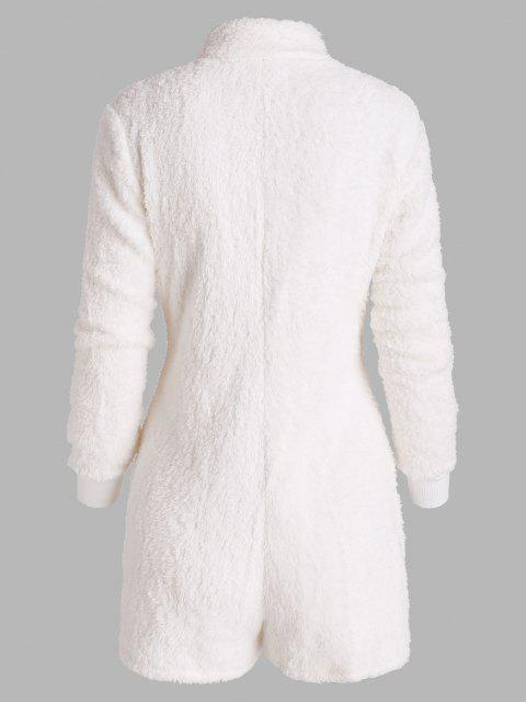 affordable Pull-ring Zip Fluffy Colorblock Lounge Romper - WHITE L Mobile