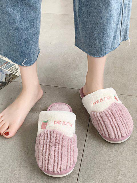 outfit Fruit Pattern Fluffy Home Slippers - PURPLE EU 37 Mobile