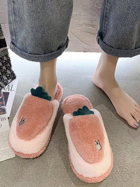 Cartoon Carrot Shape Fuzzy Home Slippers - وردي فاتح الاتحاد الأوروبي 38 Mobile