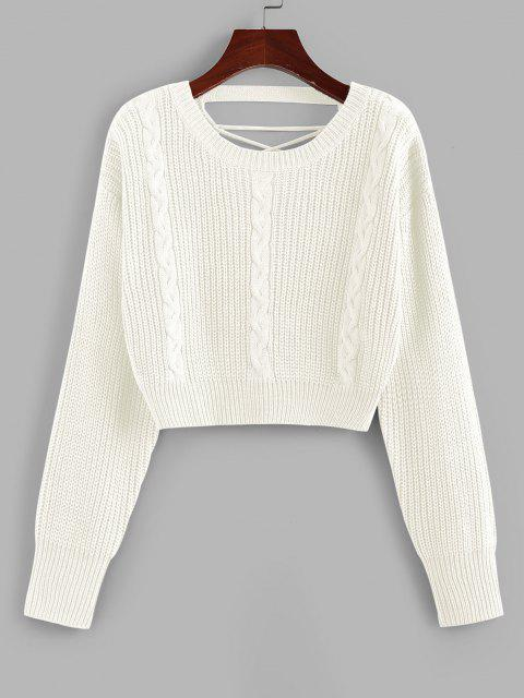 womens ZAFUL Criss Cross Cable Knit Crop Sweater - WHITE S Mobile